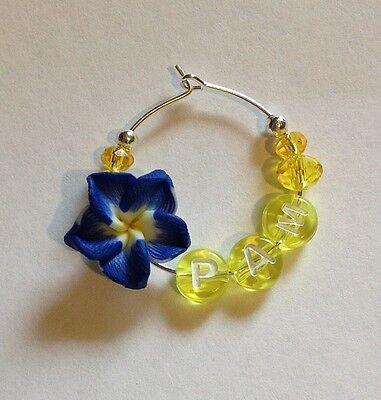 1 personalized frangipani wine glass charm girls night wedding bridal shower - Personalized Wine Glass Charms
