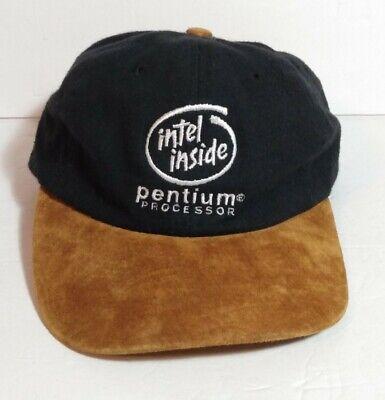 Vintage 90's Intel Inside Hat Pentium Processor Black Brown Suede Bill