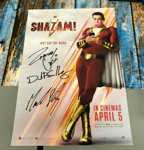 Shazam 16.5x11 Mini Poster Zachary Levi Mark Strong Autographed Signed COA
