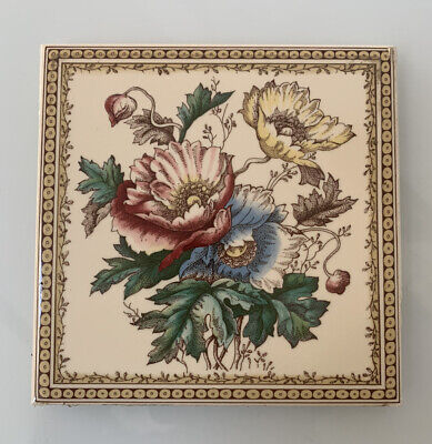 Vintage Decorative Ceramic Tile H & R Johnson Made in England Floral Flowers (b)