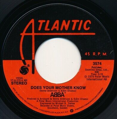 ABBA - DOES YOUR MOTHER KNOW / KISSES OF FIRE - ATLANTIC 3574 - 45 RECORD - NM