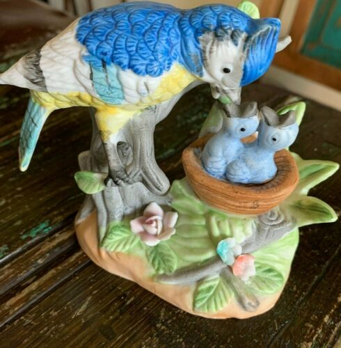 Porcelain Royal Crown Blue Jay with Babies