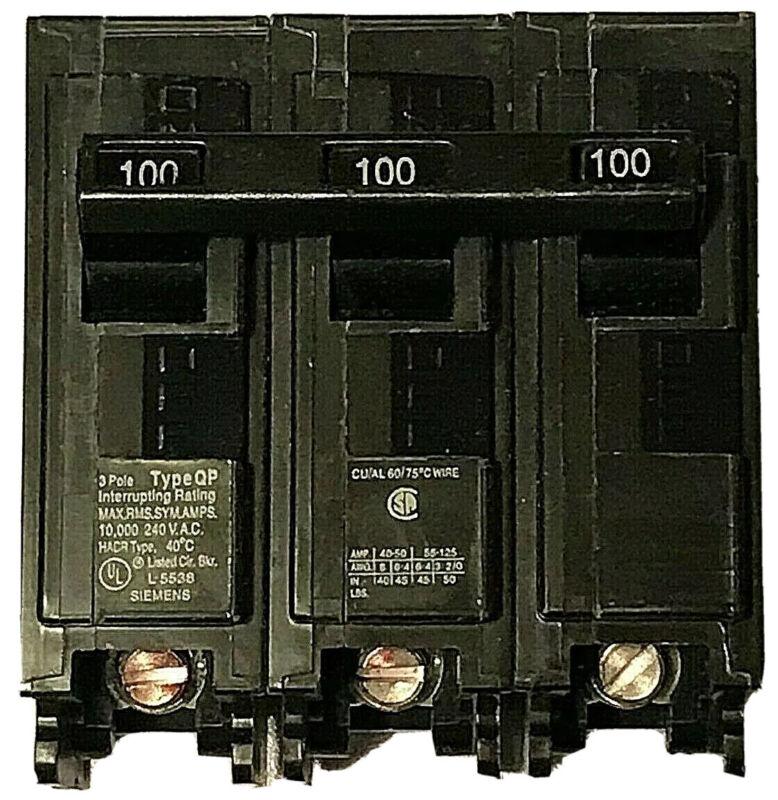 SIEMENS Q3100 3 Pole 100 Amp 240 V Type QP Plug In Breaker