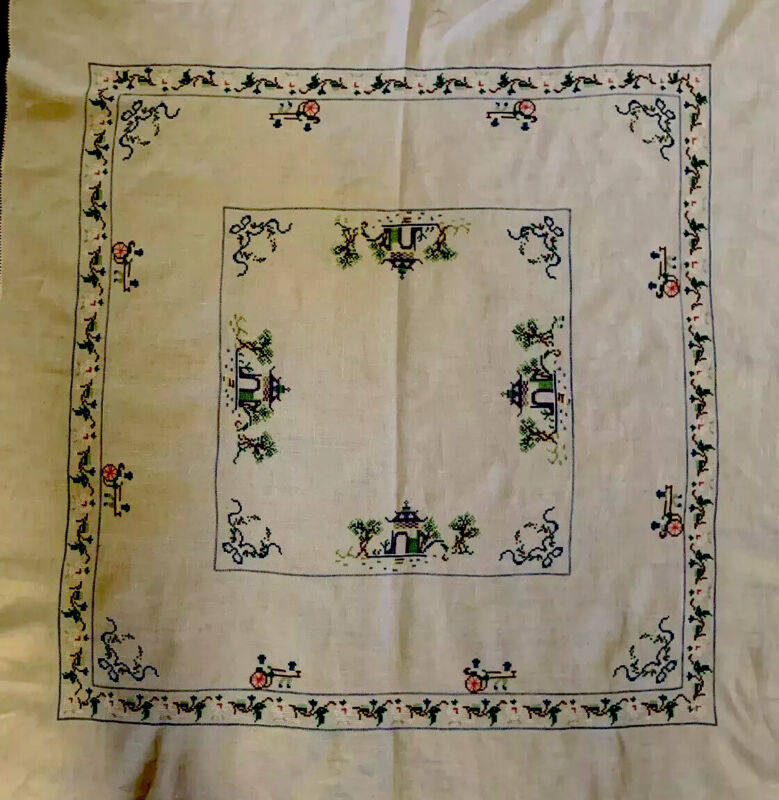 """Antique Chinese Linen table linen Tablecloth 41"""" Square + 6 Napkins"""