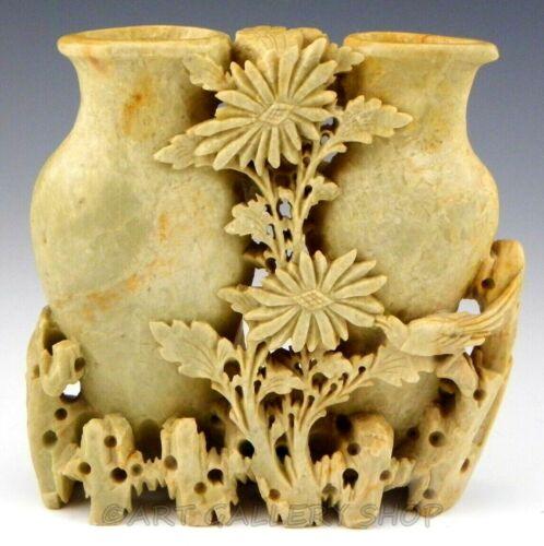 Vintage Asian Chinese Ornately Hand Carved Stone Flower Double Vase Figurine