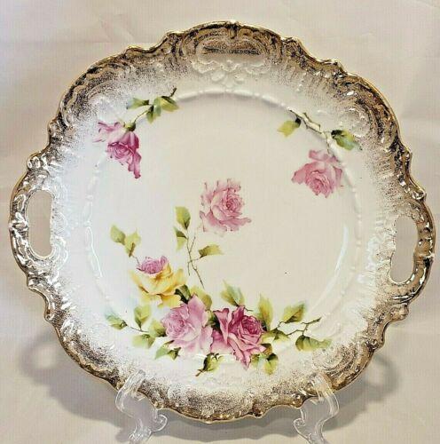 Wheelock China Germany Handled Cake Plate Tray Pink Flowers Gold Scalloped Edge