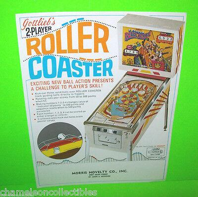 ROLLER COASTER By GOTTLIEB 1971 ORIGINAL NOS FLIPPER PINBALL MACHINE SALES FLYER