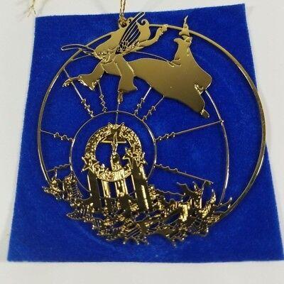 angel brass 24kt. gold overlay christmas ornament angel flying over scene flat - Brass Angel Ornament