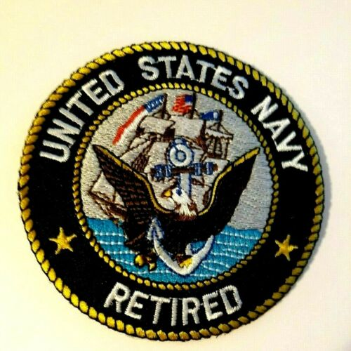 United States Navy Retired Patch Sew or Iron on         3""