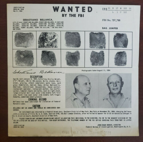 "Sebastiano ""Benny the Bum"" Bellanca Mafia Drug Dealer 1956 FBI Wanted Poster"