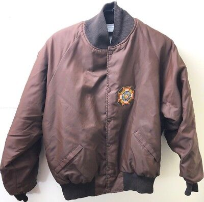 Vintage Mens Nylon Jacket Military Patch Harvard Clothing Otterwear USA 2X Brown for sale  Howell