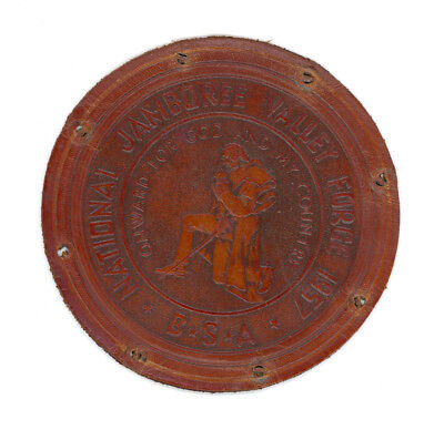 """Boy Scout National Jamboree - Valley Forge 1957 - Leather Patch - 4 3/4"""" for sale  Lyons Falls"""