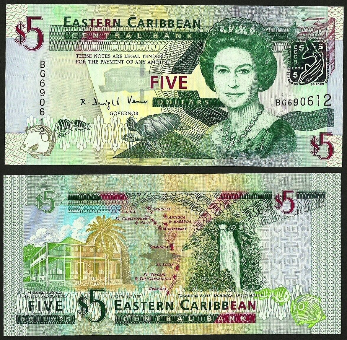 2008 East Caribbean 5 Dollars UNC P-47 Lot 5 PCS