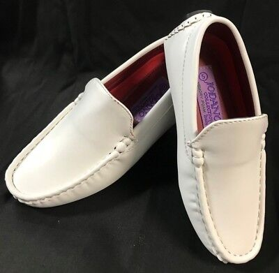 Boys white communion shoes baptism party loafer slip on 5-12 toddler  13-8 - Communion Boys