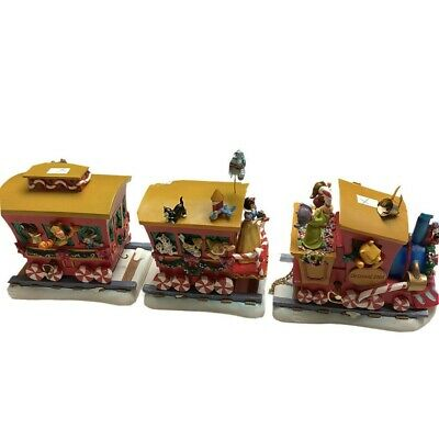 Disney Store Christmas 2000 Music Box Train Figure Set Works Winnie Mickey