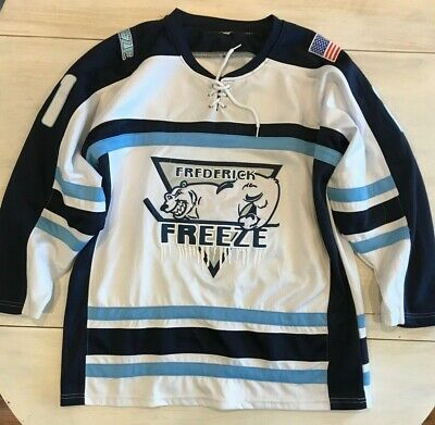 Frederick Freeze White Blue Hockey Jersey Size Small #21 Embroidered