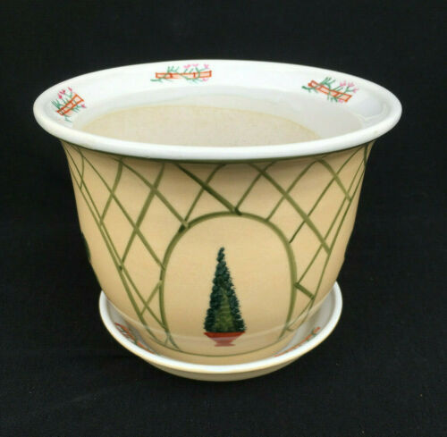 NEW ceramic flowerpot and matching saucer with topiary motif