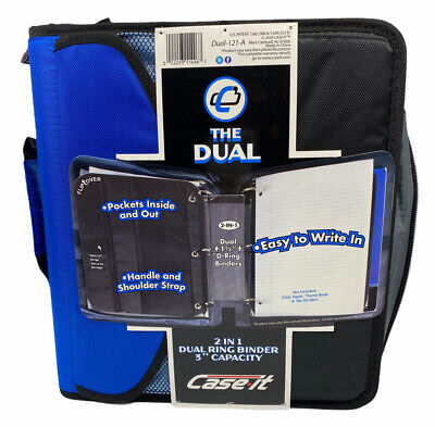 Case-it 2 In 1 Dual Ring Binder 3 Capacity With Handle And Strap Blackblue New
