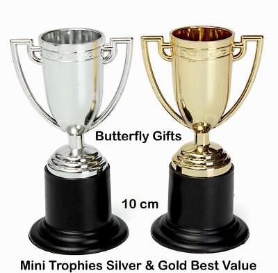 Mini Gold Silver Trophy 10cm Plastic Trophies Party Bag Fillers UK Supplier - Mini Trophy