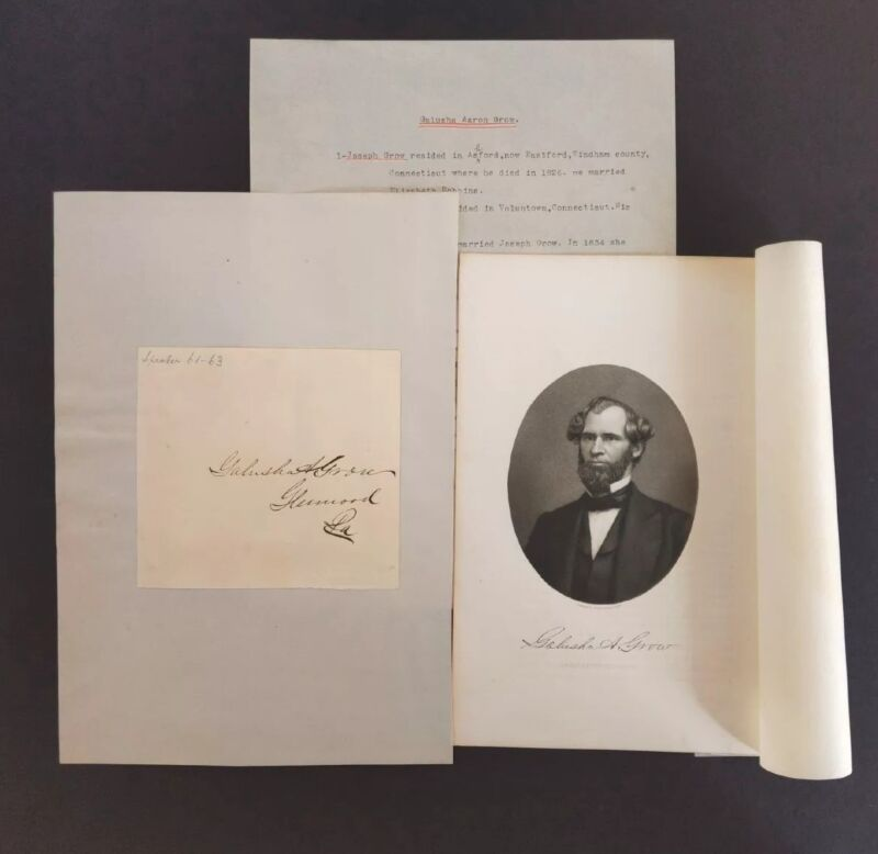 1861-63 Speaker of 37th Congress Galusha A Grow Autograph ~ Engraved Picture