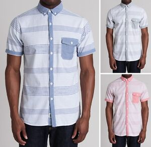 New-Soul-Star-Mens-Slim-Fit-Stripe-Shirt-Short-Sleeve-Pink-Blue-Green-Cotton