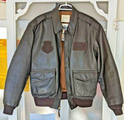 Mens 44A DSCP A-2 AF Leather FLIGHT JACKET Brown FLYER Bomber USA Avirez PHILA