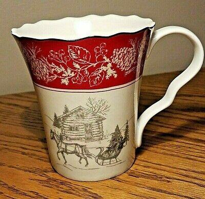 222 Fifth ANDOVER horse sleigh Christmas mug fine china 222 Fifth China