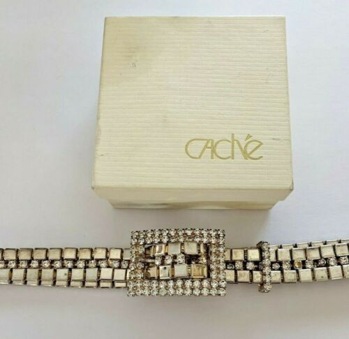 VINTAGE CACHE WOMENS SILVER RHINESTONE BELT - LARGE