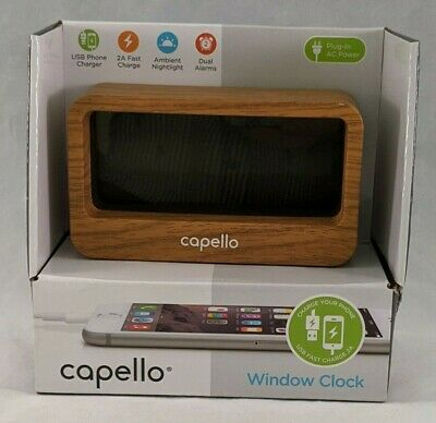 Capello Window Digital Alarm Clock with USB 2A Fast Charger Modern Lark Finish