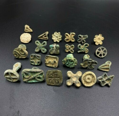 Antique Lot of Bronze Old Stamp Seals From Ancient Steppe Cultures