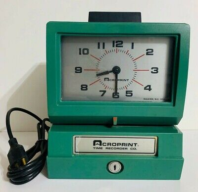 Acroprint Time Recorder Co. Electronic Punch Time Recorder Model 125nr4 Working