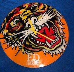 Ed Hardy Glass Clock Gold Tiger