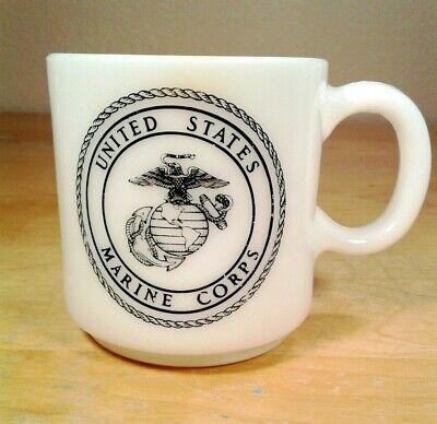 Vintage USMC Marine Corps Milk Glass Coffee Mug Marine Corps Glass