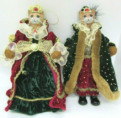 (2) Royal King Queen Cat Christmas Ornaments or Dolls, with Ceramic Heads