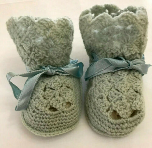 Vintage Blue Baby Boy Booties Hand Crocheted Blue Ribbon 3 1/2 Inches Long