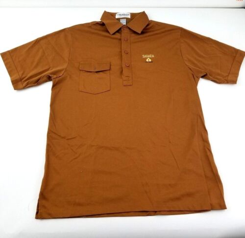 Sahara Casino Las Vegas Polo Shirt Mens Large Dealer Brown Vintage Uniform