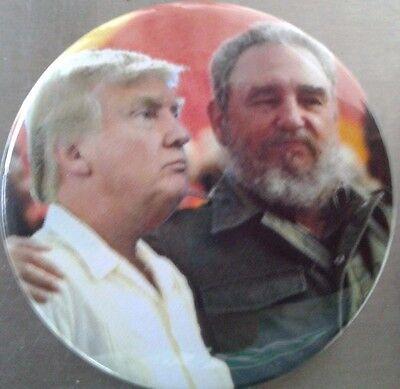 """2.25"""" Anti Trump Fidel Castro Connection Donald Trump Pinback Button Badge"""