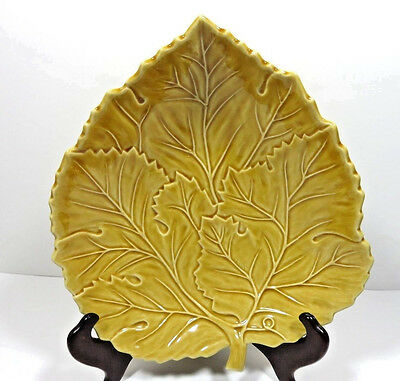 "Bordallo Pinhiero Pottery Yellow Leaf Serving Plate 10 1/2"" Portugal"