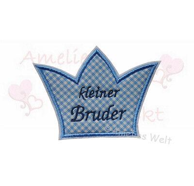 Brüder Patch (Krone kleiner Bruder Applikation Aufbügler Aufnäher stickapplikation patch)