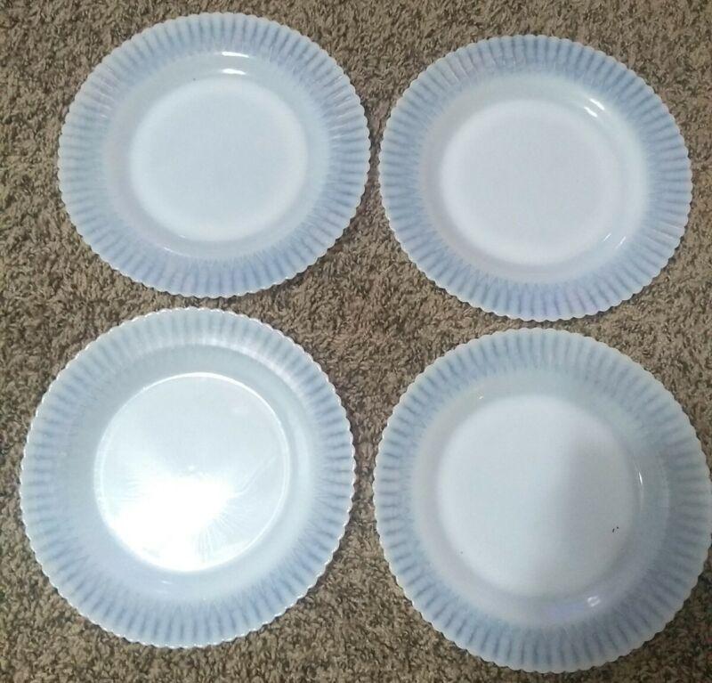 Petalware White Depression Milk Glass Large 9-in Plates Set Of 4 Vintage Lot 1