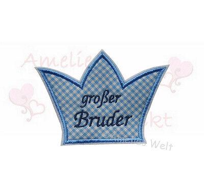 Brüder Patch (Krone grosser Bruder Applikation Aufbügler Aufnäher stickapplikation patch)