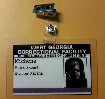 The Walking Dead Id Badge-Michone Correctional Anlage Kostüm Cosplay Zombie