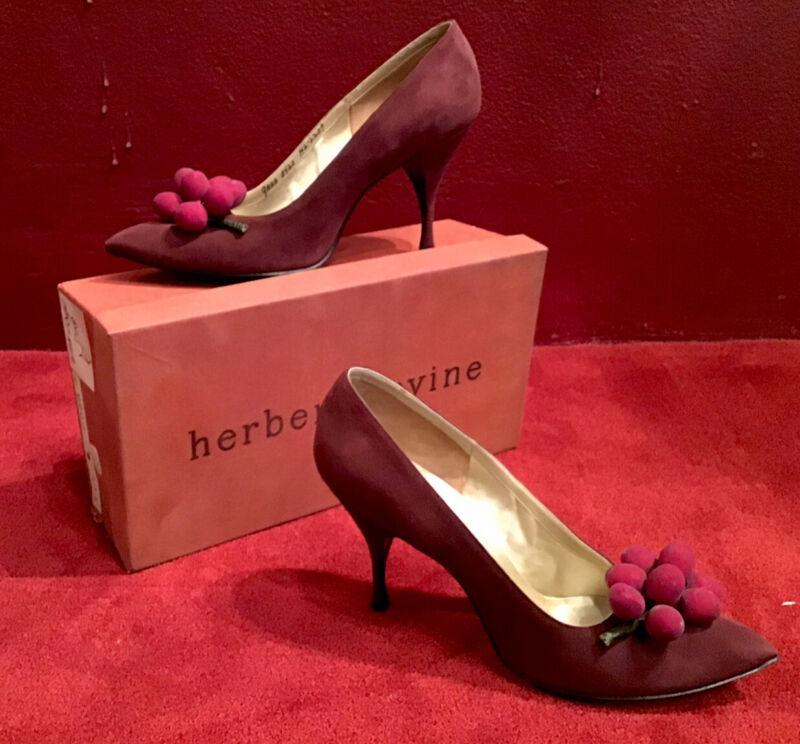 Vintage 50's 60's Pump Herbert Levine Burgady Cherries Bacchus