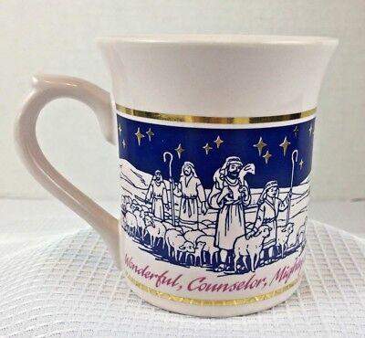 Christmas Coffee Cup Mug Nativity Scene Angels Lambs Holy Night Blue White Gold