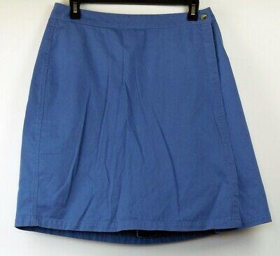 Twill-skort (L.L. Bean Blue A-Line Knee-Length Cotton Twill Skort Skirt Shorts 12)