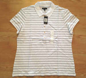 Nwt women 039 s the limited white black stripe polo button for Womens button up polo shirts