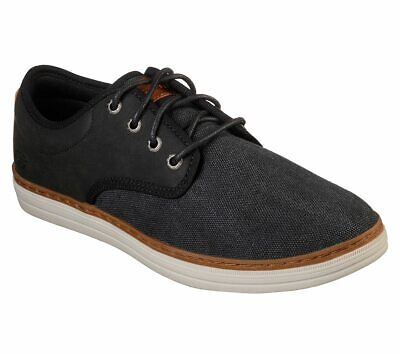 Skechers Black shoe Men Memory Foam Comfort Casual Oxford Soft Lace Canvas 65878 Casual Canvas Oxford