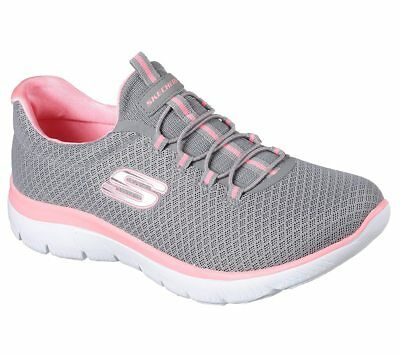 12980 Gray Pink Skechers shoes Memory Foam Women Slipon Bungee Comfort Soft Mesh