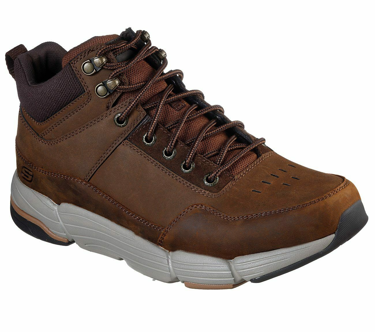 Details zu Skechers Relaxed Fit: Metco Boles Ankle Boots Mens Leather Lace Up Shoes 66252
