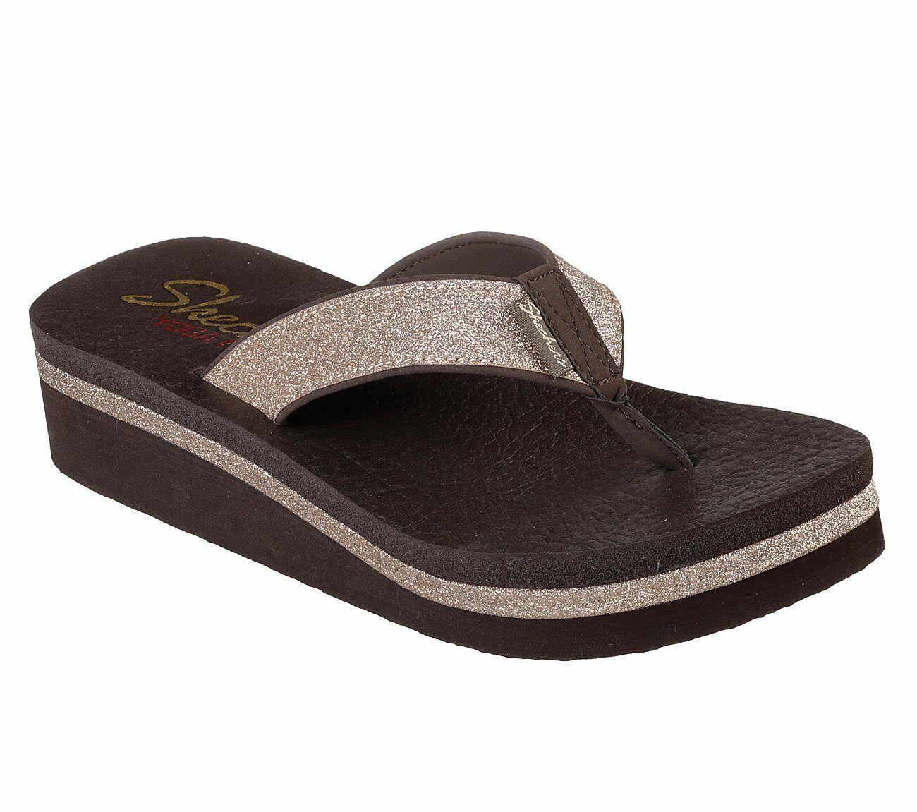 6be88e15ab4a Skechers Vinyasa - Unicorn Mist Flip Flops Womens Wedge Toe Post Sandals  31605